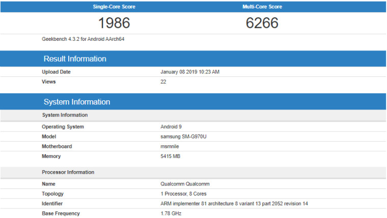 Samsung Galxy S10 Lite Leaked on Geekbench with SD 855 SoC
