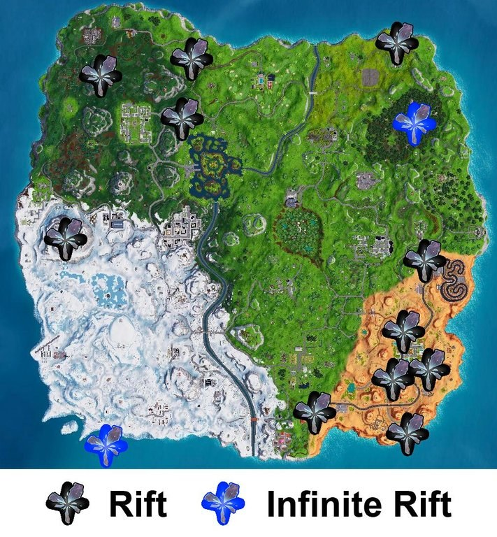 Fortnite Season 7 Rift Locations on the Fortnite Map 1 Photo