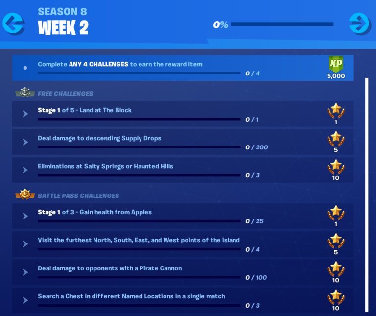 Fortnite Season 8 Week 2 Challenges Guide, Cheatsheet, Visit Furthest Points, Eliminate Opponents with Pirate Canons 1 Photo