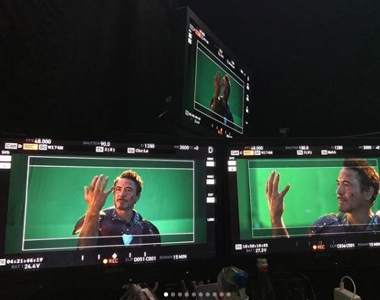 Robert Downey Jr. (Iron Man) shares behind the scenes pics of Avengers Endgame Snap