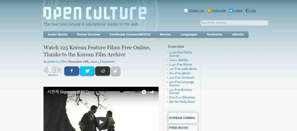 Open Culture Movie download free