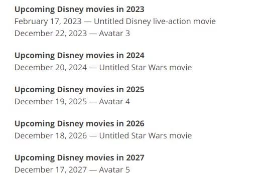 Dinsey announced the release dates of 63 new movies through 2027.